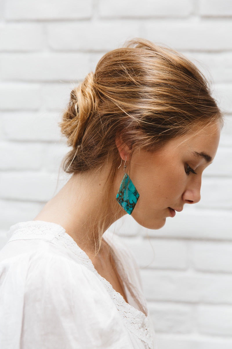 Geometric Turquoise Statement Earrings