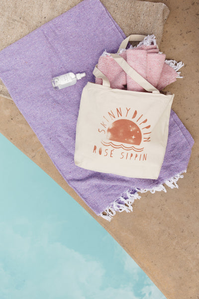 Skinny Dippin' And Rosé Sippin' Tote Beach Bag