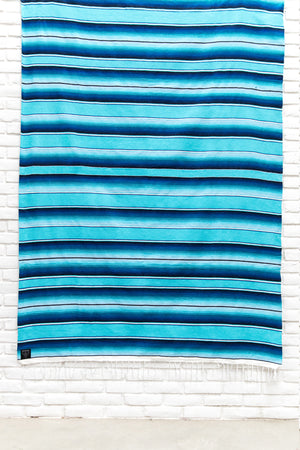 THE LAGOON: BRIGHT BLUE MEXICAN SERAPE / SALTILLO BEACH BLANKET