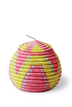 Bright Yellow & Light Pink Geometric Lidded Round Basket