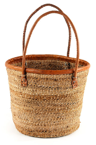 Lola Banana Fiber and Leather Tote Bag