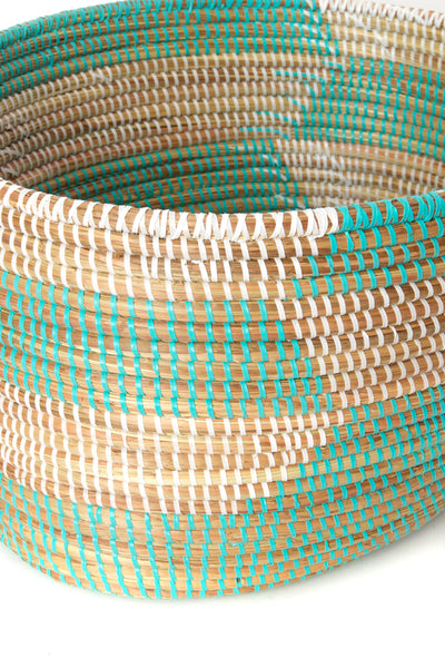 African Handmade Mint + Natural Storage Basket