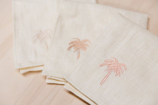 South Beach Series / G&S x Hostess Haven Embroidered Pastel Palm Tree Linen Napkins - Set of 4