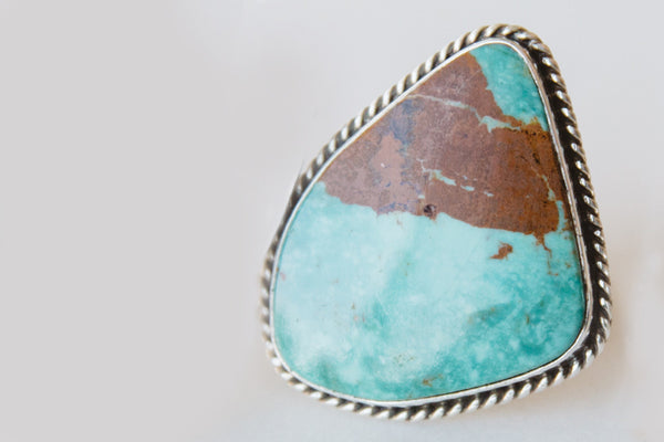 Navajo Made Turquoise & Sterling Silver Ring w/ Brown Marbling