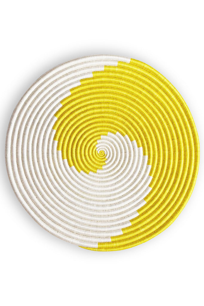 Bright Yellow Swirl Woven Platter
