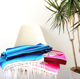 THE OCEANE: NEON HOT PINK MEXICAN SERAPE / SALTILLO BEACH BLANKET