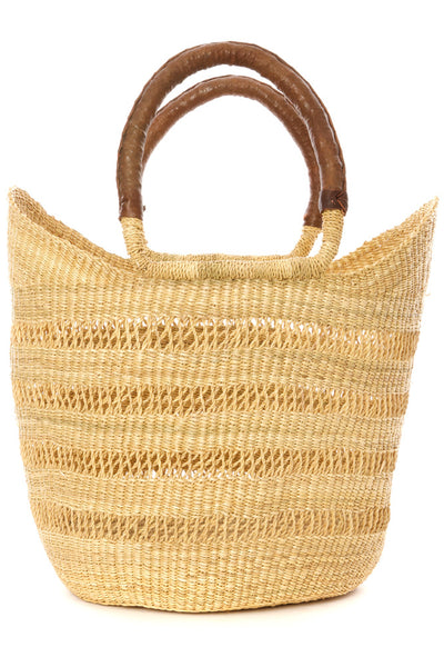 Hannah Lacework Wing Shopper Tote / Handbag with Brown Leather Handles