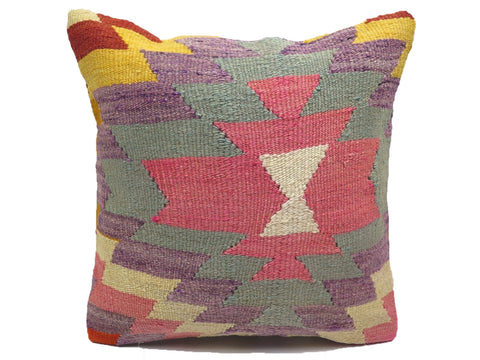 Vintage Pastel Pink & Purple Turkish Kilim Pillow