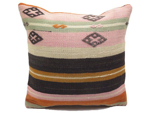 Vintage Pastel Pink Diamond & Stripe Design Turkish Kilim Pillow
