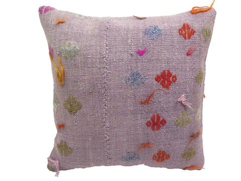 Vintage Pastel Purple Fringe Turkish Kilim Pillow