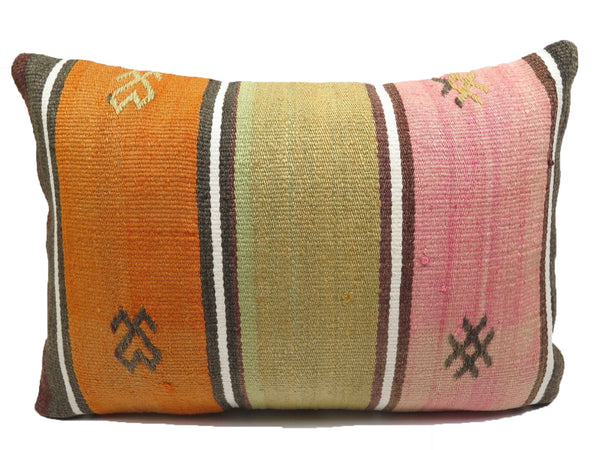 Vintage Pastel Pink, Orange & Army Green Turkish Kilim Pillow
