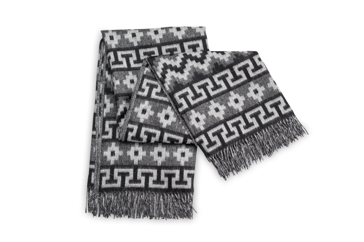 GREY & BLACK PERUVIAN ALPACA THROW BLANKET