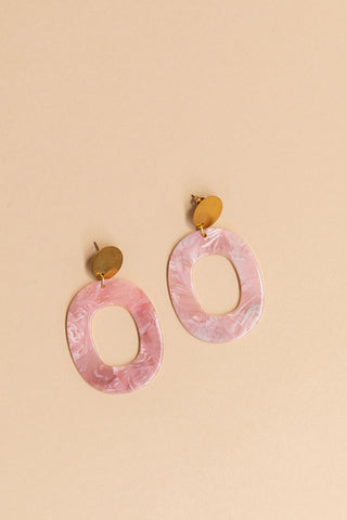 Blush + Brass Resin Earrings