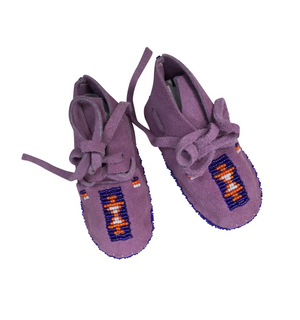 One of a Kind Native American-Made Baby Moccasins - Purple