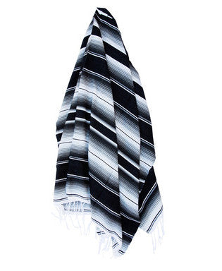 THE ROCKAWAY: BLACK, GREY & WHITE MEXICAN SERAPE / SALTILLO BEACH BLANKET