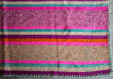 Peruvian Frazada Style Wool Rug / Blanket - Bold & Bright Colors