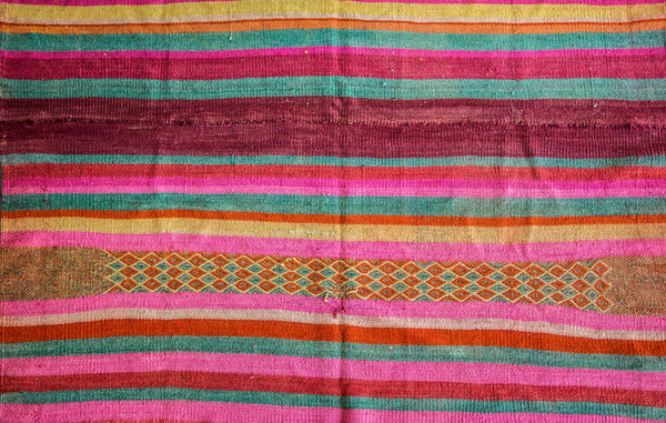 Peruvian Frazada Style Wool Rug / Blanket - Bright, Bold Colors