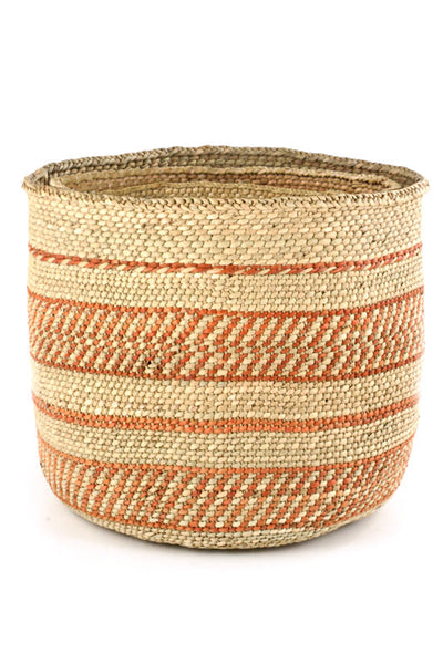 African Handmade Rust Red Accent Basket