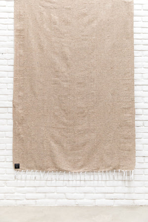 THE SABLE: NEUTRAL SANDY BROWN / TAN SOLID MEXICAN BLANKET