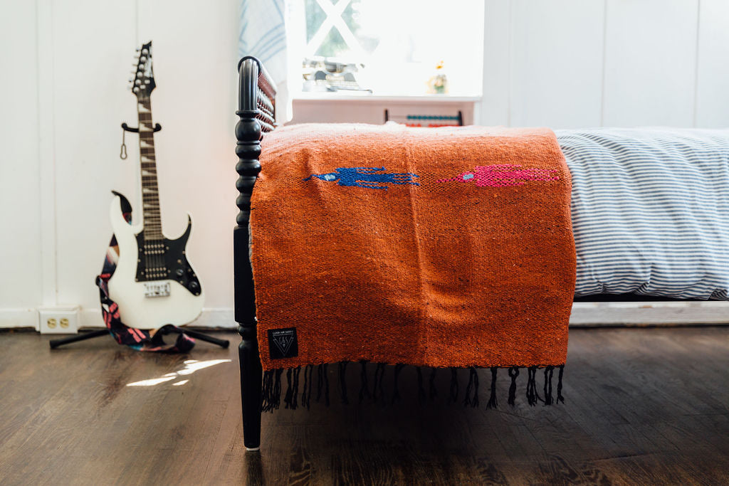 The Ibiza: Solid Terracotta Thunderbird Heavy Weight Mexican Blanket