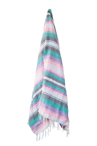 The Seychelles: Pastel Pink, Purple, Teal, Grey & White Striped Mexican Blanket