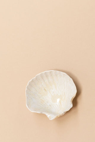Handmade Ceramic Seashell Dish | White