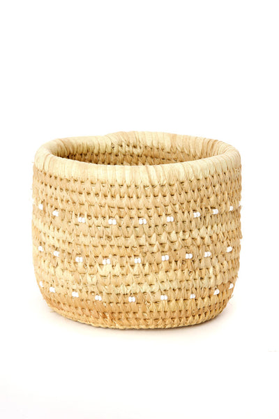African Handmade Beaded Dots Palm Leaf Accent Basket
