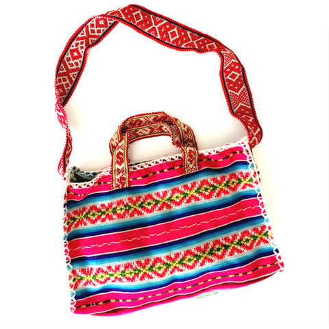 OUR OPEN ROAD COLLECTION: HOT PINK MEDIUM PERUVIAN VINTAGE TEXTILE SHOULDER BAG