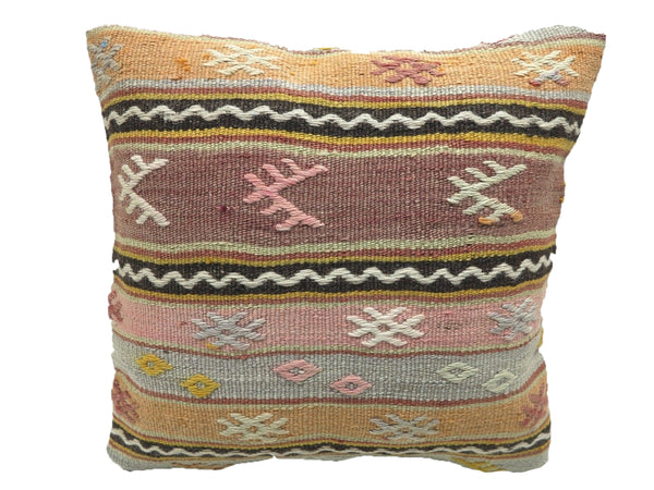 Vintage Geometric Pastel Turkish Kilim Pillow