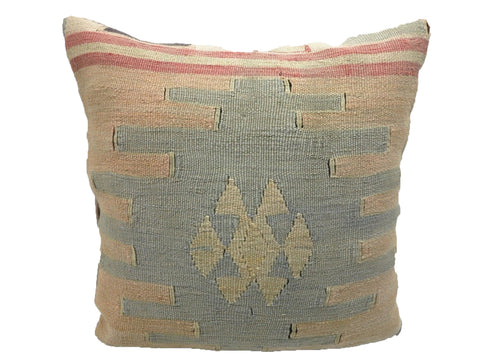 Vintage Geometric Faded Pastel Turkish Kilim Pillow