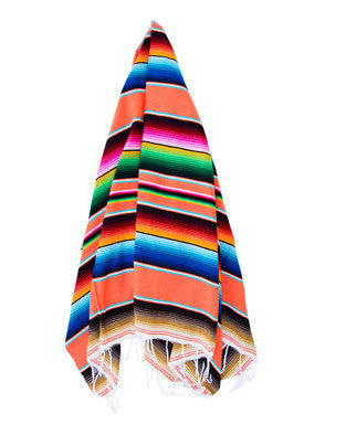 THE TAMARINDO: BRIGHT ORANGE MEXICAN SERAPE / SALTILLO BEACH BLANKET