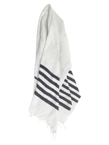 The Driftwood: Neutral Black & White Striped Mexican Blanket