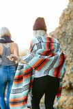THE CASSIDY: Turquoise, Orange, Black & White Mexican Blanket