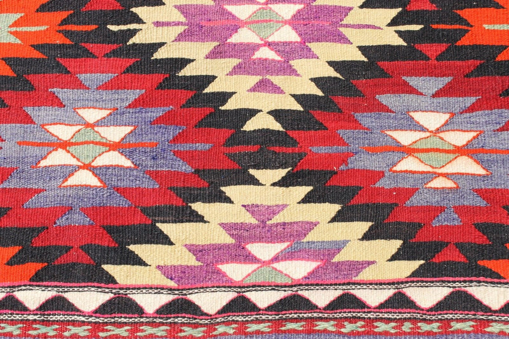 Brand-new Handwoven Turkish Kilim Rug in Bright Colors: Purple, Red, Neon  MW86