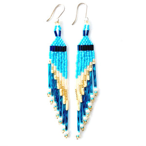 NATIVE AMERICAN MADE BEADED CHANDELIER EARRINGS