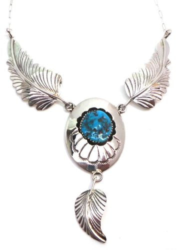 NAVAJO HANDMADE TURQUOISE FEATHER STERLING SILVER NECKLACE