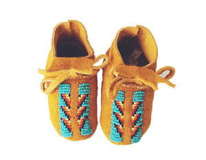 THE TIWA: TAN SUEDE, TURQUOISE & RED BEADED BABY MOCCASINS