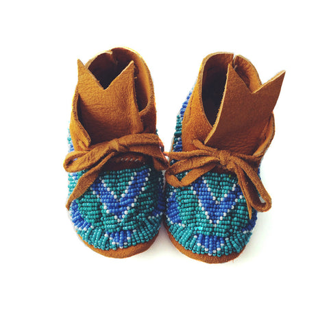 THE RIO GRANDE: TAN SUEDE TURQUOISE, WHITE & SEA FOAM FULLY BEADED BABY MOCCASINS