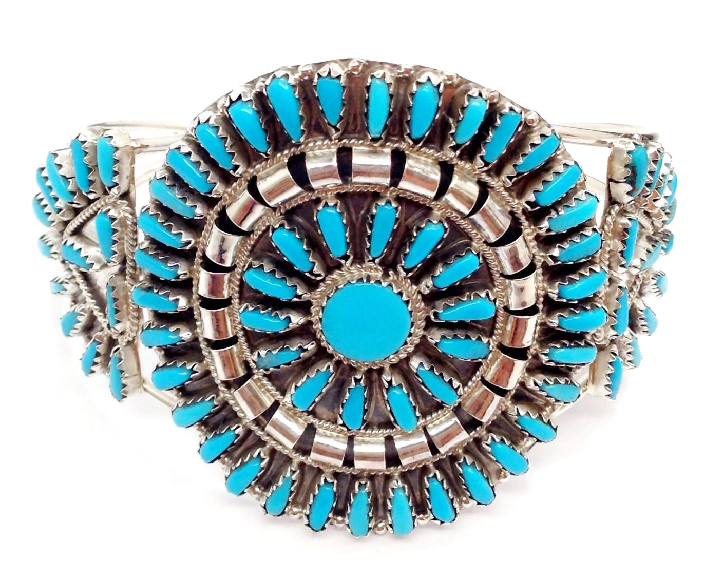 ZUNI STYLE TURQUOISE & STERLING SILVER BRACELET - NAVAJO MADE