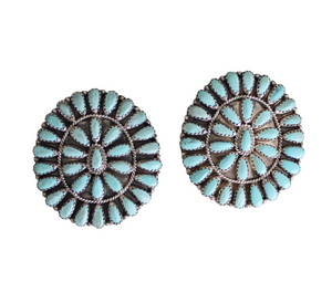 Vintage Zuni Style Turquoise & Sterling Silver Estate Earrings
