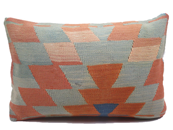 Vintage Pastel Faded Geometric Southwestern Lumbar Turkish Kilim Pillow