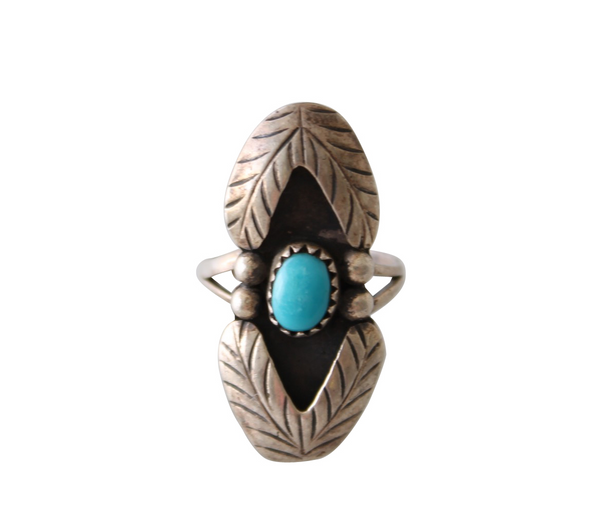 Vintage Turquoise & Silver Double Feather Detail Native American Ring