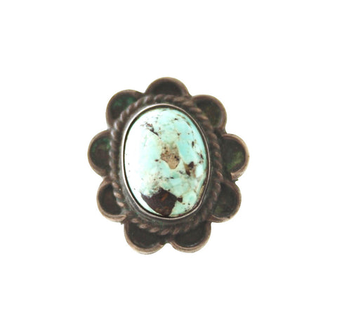 Vintage Flower / Scalloped-Edge Turquoise & Silver Native American Ring