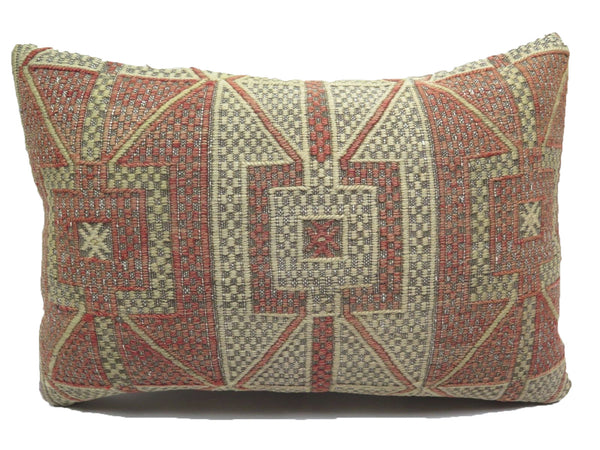 Vintage Faded Geometric Lumbar Turkish Kilim Pillow