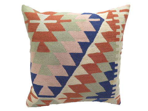 Vintage Faded Pastel Zig Zag Turkish Kilim Pillow