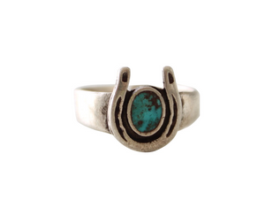 Vintage Turquoise & Silver Horseshoe Native American Ring