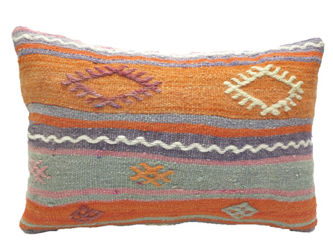 Vintage Bright Colored Turkish Kilim Lumbar Pillow