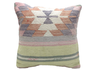 Vintage Faded Pastel Turkish Kilim Pillow With Geometric Pattern