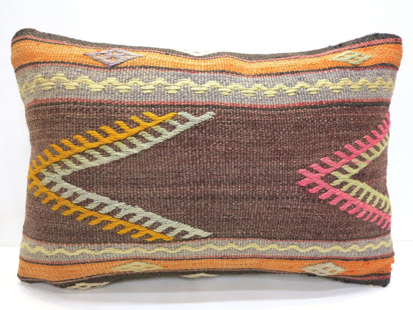Vintage Neon Turkish Kilim Lumbar Pillow