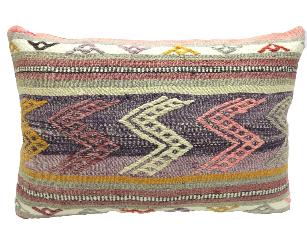 Vintage Faded Pastel Turkish Kilim Lumbar Pillow